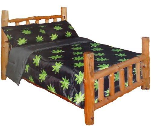 Regal Comfort Pot Leaf Pattern Comforter Only (Black, King)