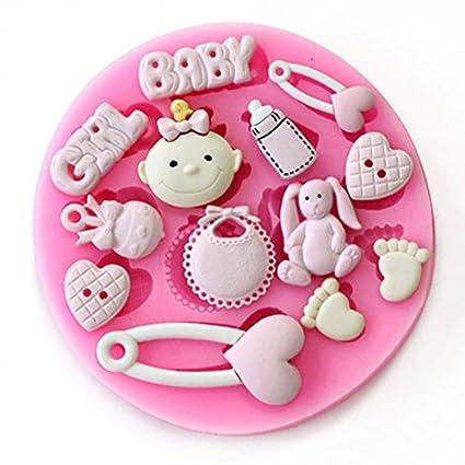 Baby Shower – bebé niña – fiesta 3d molde de silicona Fondant decoración de pasteles Topper