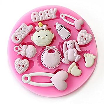 Baby Shower - bebé niña - fiesta 3d molde de silicona Fondant decoración de pasteles Topper: Amazon.es: Hogar