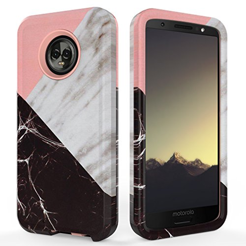 (6th Generation) Case,SLMY(TM) Fashion Marble Armor Shockproof Heavy Duty Shock Resistant Hybrid Soft Silicone Hard PC Cover Case for Motorola Moto G6 5.7 Inch-Marble Rose Gold ()
