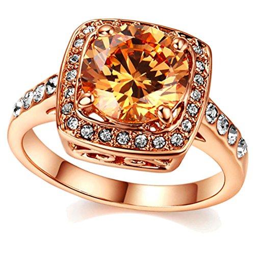UOKOHO Yellow Shinning Topaz Rings For Women 18K Rose Gold Jewelry Size 9