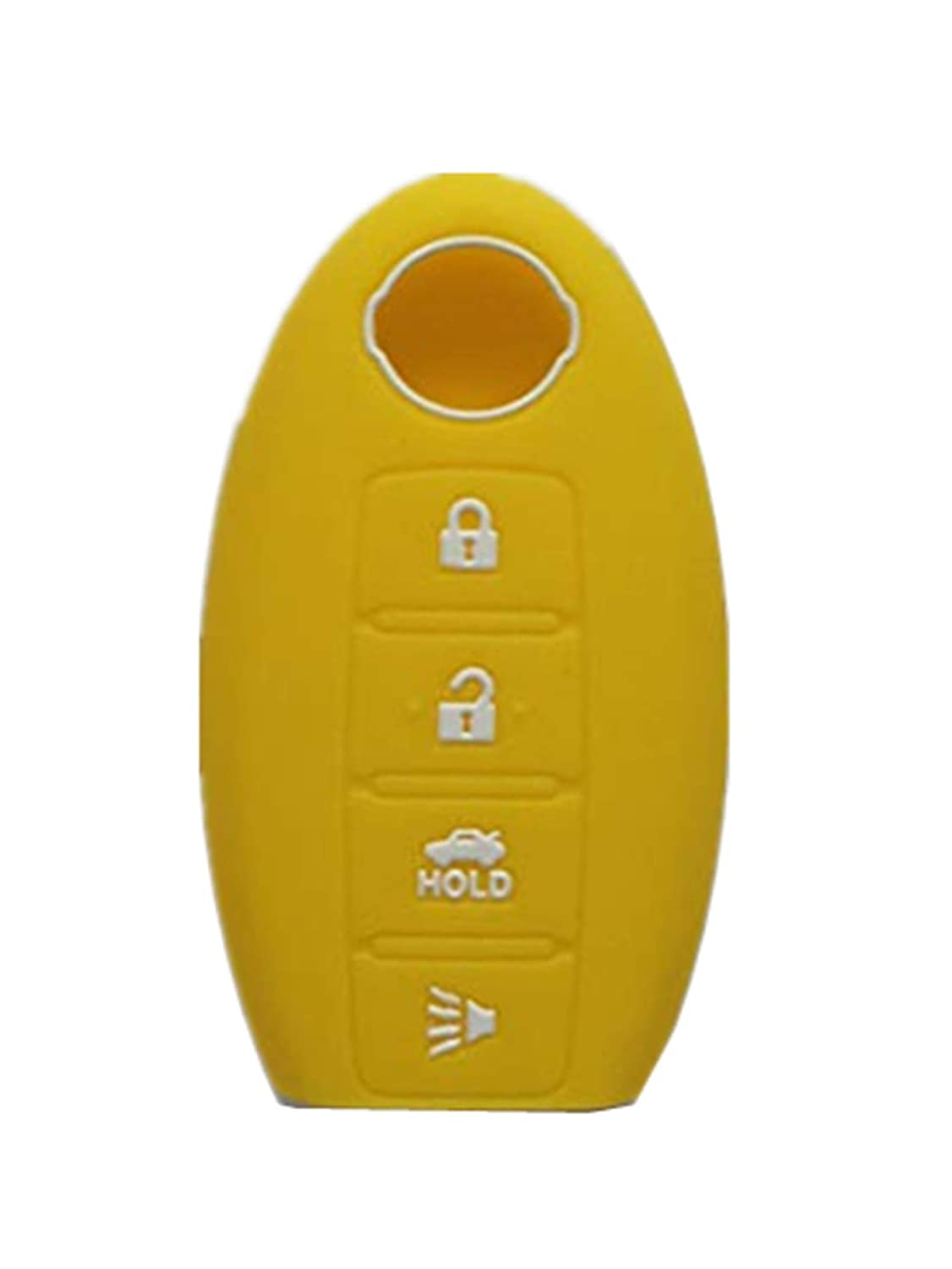 Rpkey Silicone Keyless Entry Remote Control Key Fob Cover Case protector For Nissan Altima Maxima Murano Versa 285E3-JA05A KR55WK48903(yellow)