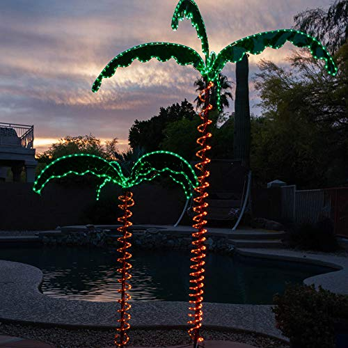 Green LongLife 4.5-Feet Decorative Lighted Palm Tree - Holographic Rope Light for Indoor and Outdoor Use (Outdoor Palm Up Tree Light)
