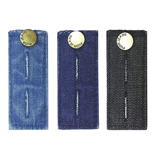 LZLER Denim Waist Extenders for Men and Women, Easy Fit Buttons for Jeans Trousers with Metal Button, Add 1/2