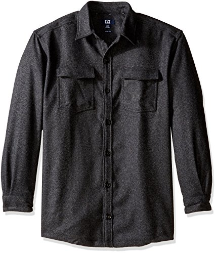 Cutter & Buck Men's Big and Tall Long Sleeve Virany Shirt Jacket, Black, XLT