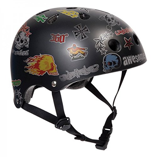 Roller/patins à roulettes Sticker Casque de protection – Black – Pour SFR Skateboard/Scooter/BMX, Inliner, Longboard Casque – équipement de protection casque de skateboard