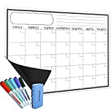 Magnetic Dry Erase Calendar for Fridge - Large Monthly White Board For Kitchen Refrigerator With Strong Magnet - Includes 5 Fine Tip Markers & Magnetic Eraser - Perfect Planner To Stay Organized