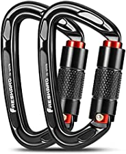 Twist Lock Climbing Carabiner Clips, Auto Locking and Heavy Duty, CE Certified for Climbing and Rappelling, Ca