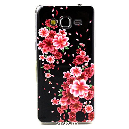Galaxy Grand Prime Case, StarCity ® Samsung Galaxy Grand Prime [SM-G530] Case, [Lovely Small Floral Print] [Shock Absorbent] Flexible TPU Case Skin Gel Protective Cover Case (Flower Series_Black Rose)