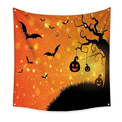 Halloween Funny Tapestry Magical Fantastic Evil Night Icons Swirled Branches Haunted Forest Hill Quote Tapestry Orange Yellow Black 47W x 47L Inch -