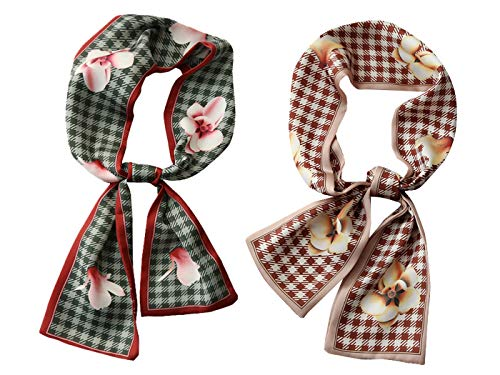 GERINLY 2 PCS Vintage Skinny Neck Scarves Floral Print Long Hairband Stylish Accessory (2 PCS)