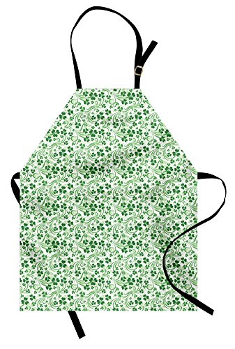 Lunarable Shamrock Apron, Lucky Celtic Clovers Swirls Monochrome Irish Design St Patrick's Day, Unisex Kitchen Bib Apron Adjustable Neck Cooking Baking Gardening, Pale Green Emerald