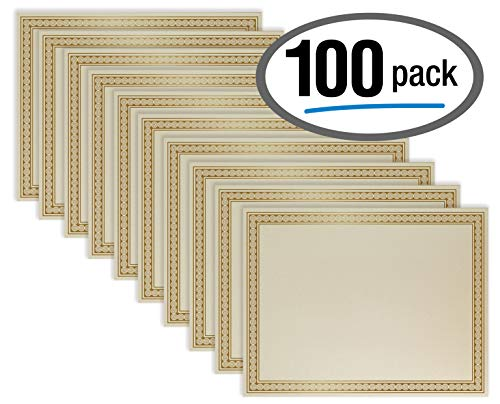 - 100 Sheet Award Certificate Paper, Gold Foil Metallic Border, Ivory Letter Size Blank Paper, by Better Office Products, Diploma Certificate Paper, Laser and Inkjet Printer Friendly, 8.5 x 11 Inches