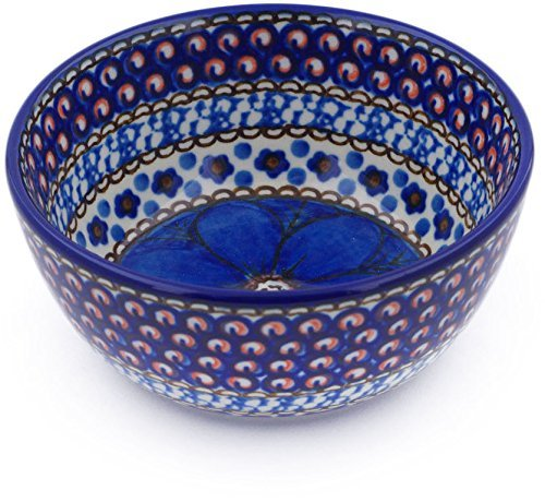 Polish Pottery 4¾-inch Bowl made by Ceramika Artystyczna (Cobalt Poppies Theme) Signature UNIKAT + Certificate of Authenticity ()