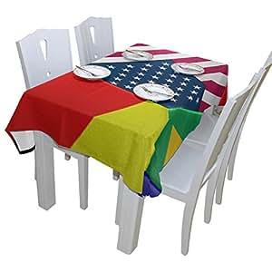 """Cena de impresión de balón de fútbol mantel poliéster interior al aire libre Rectangular mesa de cocina gamuza 54""""X54"""" rectangular mantel de servilletas para fiesta"""