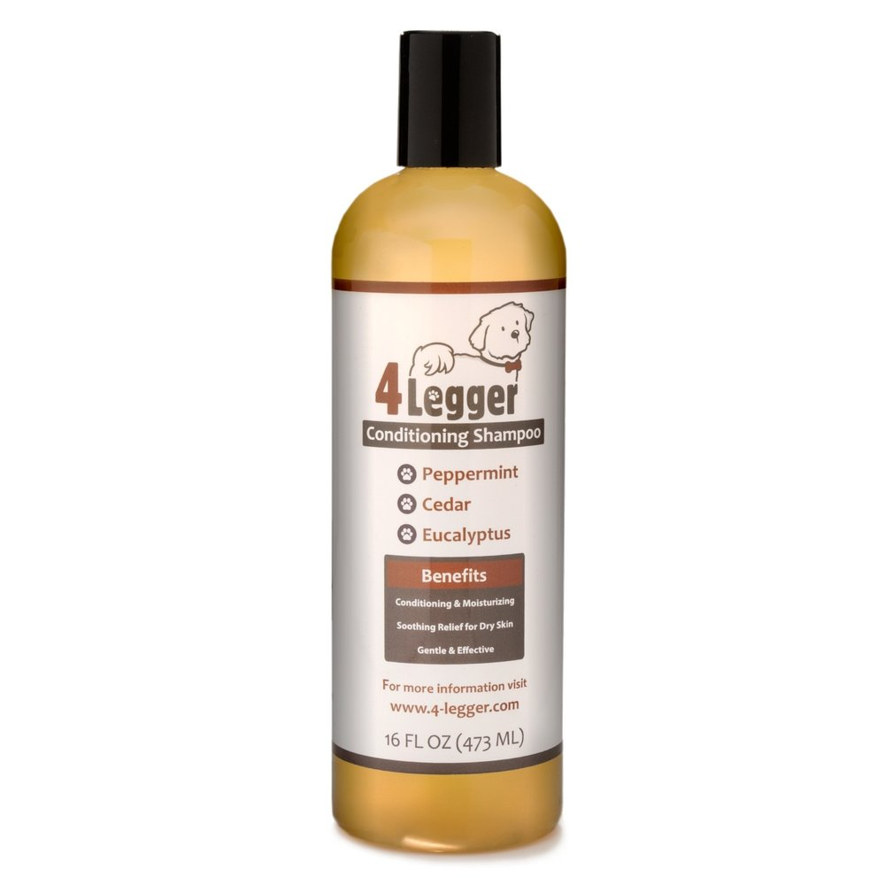 4-Legger Certified Organic Dog Shampoo with Conditioner - All Natural Cedar Dog Shampoo with Peppermint, Eucalyptus and Aloe for Normal to Dry and Itchy Skin - Concentrated - Non-Toxic - 16 oz.