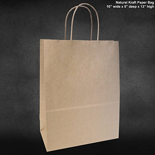 "10""x5""x13"" - 50 Pcs - Brown Kraft Paper Bags, Shopping, Mechandise, Party, Gift Bags"