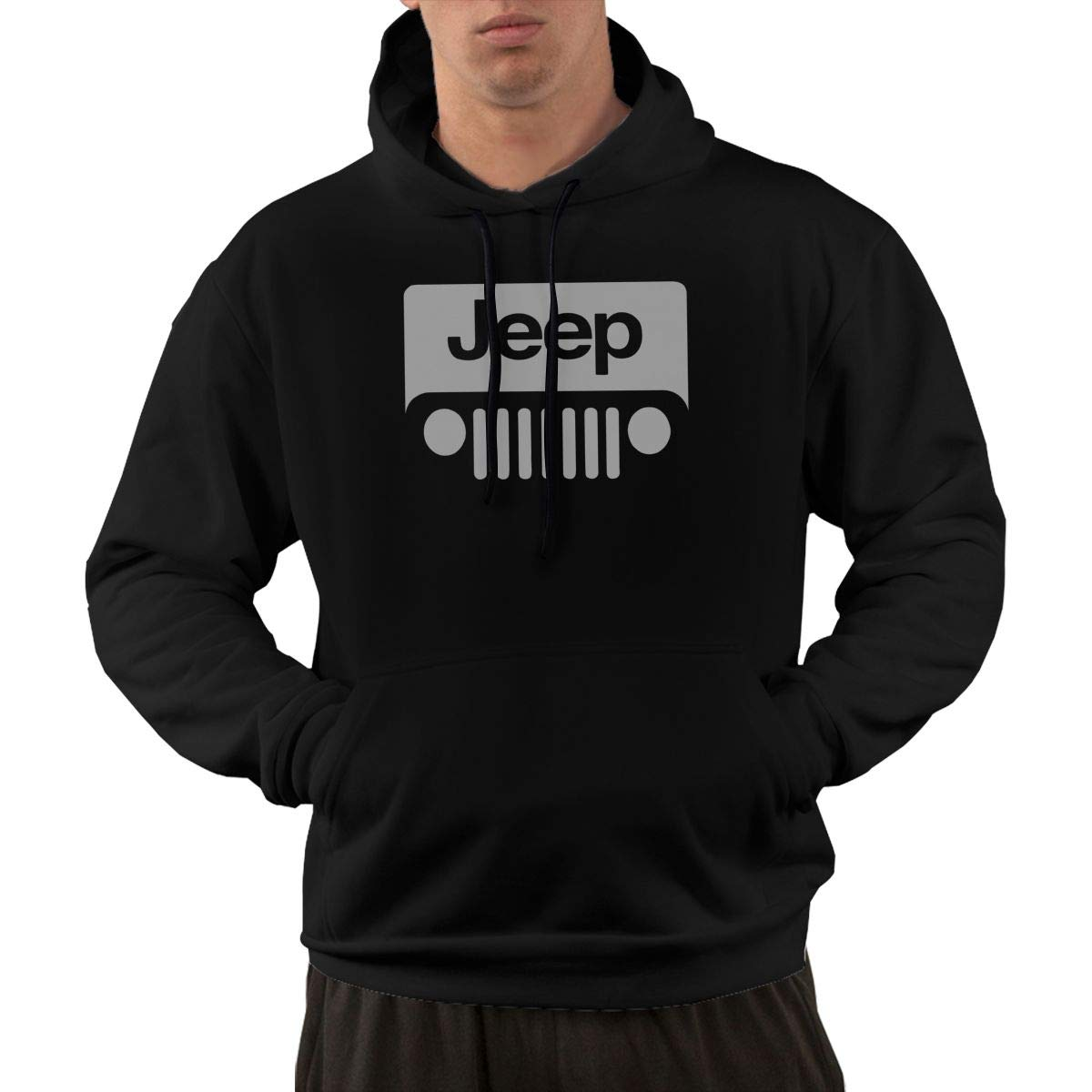 TSFTAXCChgc Jeep Silver Logo Cool Hooded Pocket Hoodie for All Men Black