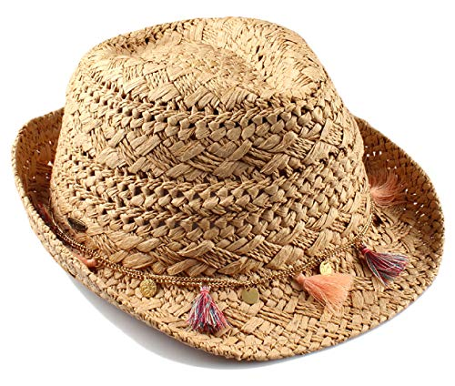 H-6108-2021 Straw Fedora Sun Hat - Natural w/ Tassels (Havana Hat Women)
