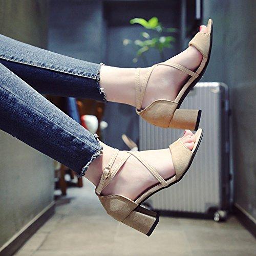 YMFIE Nuevo Verano Simple Moda Suede Cruz Sandalias de tacón Alto Lazos señoras los Dedos de los pies y los Zapatos de tacón Alto. b