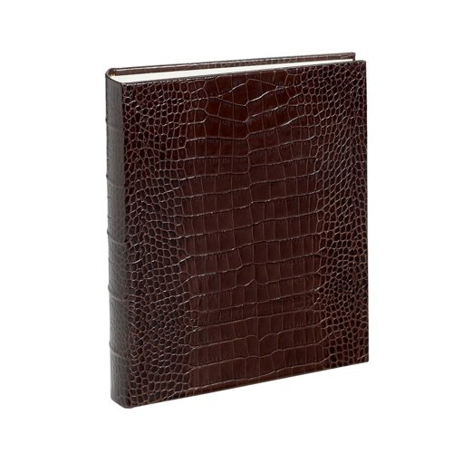 Crocodile Genuine Italian Leather Bound Album, 100 Pages, Photo Squares Included, 9-1/8