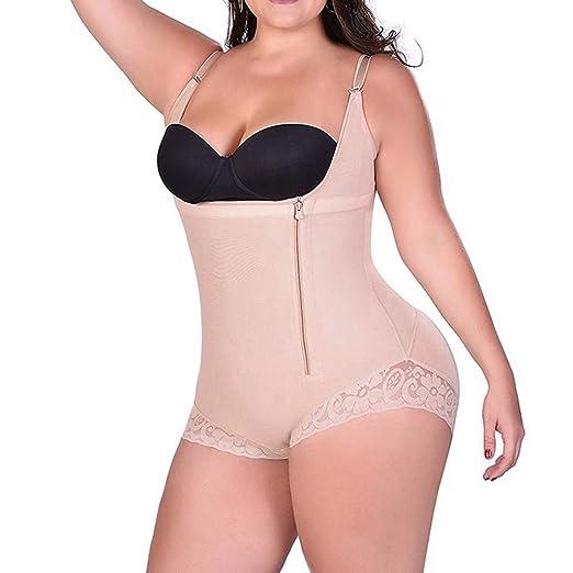 abb890219e999 U-MAC Women s Mid-Thigh Open Bust Bodysuit Shapewear Tummy Control  Adjustable Plus Size Zipper Full Body Shaper at Amazon Women s Clothing  store