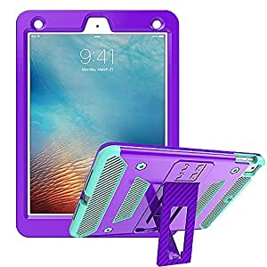 NEO-ARMOR iPad 9.7 (2018/2017 Model), iPad Pro 9.7, iPad Air 2 Case, Heavy Duty Three-Layer Hybrid Shockproof Full Body Protective Cover With Kickstand - Purple Teal