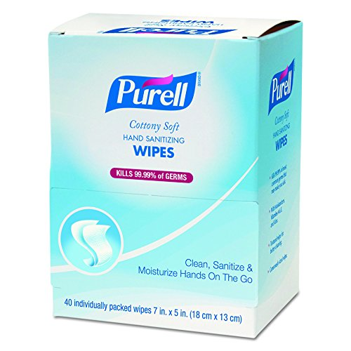 PURELL Cottony Soft Hand Sanitizing Wipes, Individually Wrapped, 40 Individually Packed Sanitizing Wipes in Self Dispensing Display Box (Case of 12) - 9025-12
