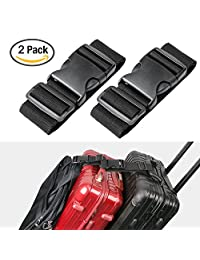 Luxebell Add A Bag Luggage Straps, Suitcase Belt Travel Accessories 2-Pack (19.6inches, Black)
