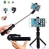 Selfie Stick Tripod With Detachable Bluetooth 3.0 Remote Shutter, Pocket Size, Extendable Aluminum Rod For iPhone 8/8+/7/7P/6/6P/SE, Galaxy S5/S6/S7/S8, LG, HTC, Moto, Huawei & More (Black)