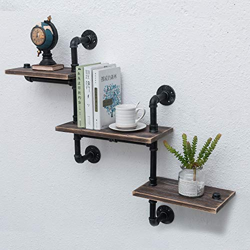 Industrial Pipe Shelving Wall Mounted,Steampunk Real Reclaimed Wood Book Shelves,Rustic Metal Floating Shelves,Wall… 5