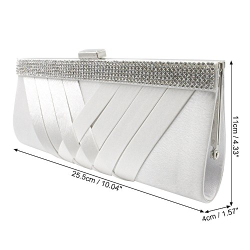 Satin Woven Handbag Party Gorgeous White Wedding Womens Diamante Clutch Purse Wocharm nE5Iqw