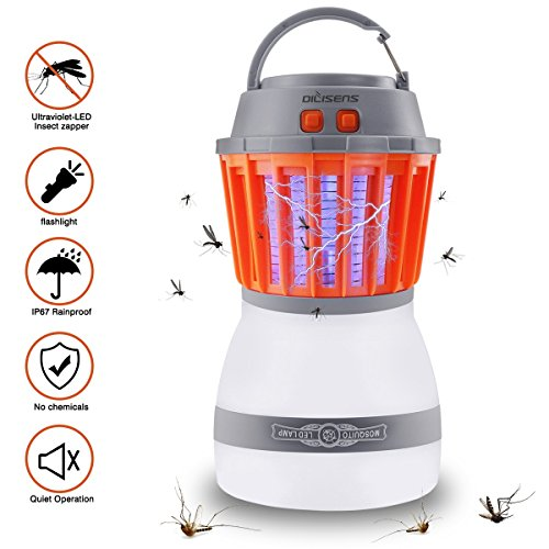 DILISENS Bug Zapper Mosquito Killer Camping Lamp 2 IN 1 Electronic Insect Killer Light via USB Charging, IP67 Waterproof,Built in Insect Trap, Perfect for Indoor Outdoor Home Traveling (1 Pack)
