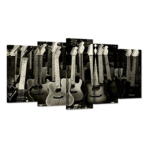Hello Artwork - Large 5 Pieces Music Canvas Wall Art Vintage Guitars On Black Background Songwriters Love Picture Print On Canvas Stretched For Living Room Ready To Hang (And Roll Rock Artwork)