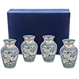 Wings of Love Mini Keepsake Urns For Human Ashes - Set of 4 - Beautiful and Timeless Find Comfort Everytime You Look At These Small High Quality Cremation Urns - With Velvet Case