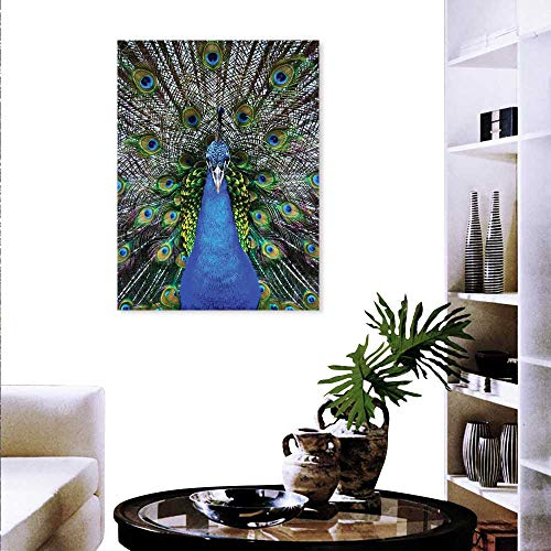 "Peacock Canvas Wall Art Magnificent Peacock Portrait Vibrant Colorful Feathers Photo Pattern Customizable Wall Stickers 24""x32"" Blue Green Brown"
