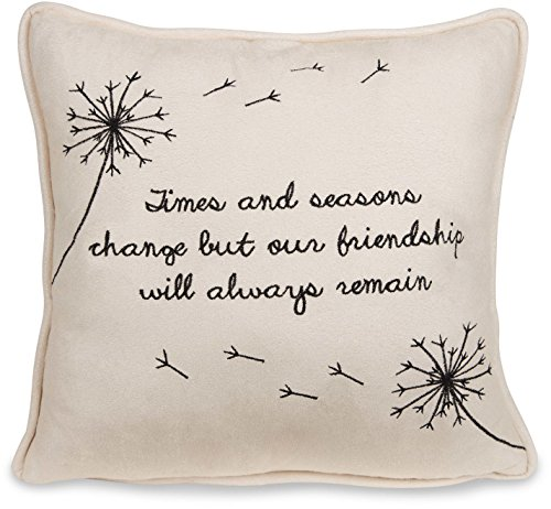 Pavilion Gift Company 77122 Dandelion Wishes - Times & Seasons Change but Our Friendship Will Always Remain 12 inch Decorative Micro Suede Pillow Light Yellow