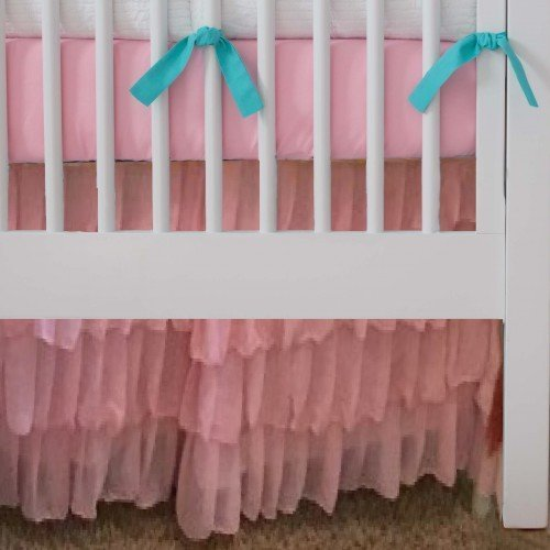 "Adjustable 10"" 15""and 20"" drop all Chiffon Ruffle Crib Skirt/Mini/Circular Crib Skirt"