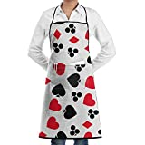 Novelty Cool Poker Cards Kitchen Chef Apron With Big Pockets - Chef Apron For Cooking,Baking,Crafting,Gardening And BBQ