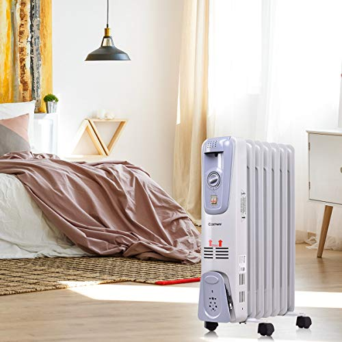 87ceb8a727a COSTWAY Oil Filled Radiator Heater Portable Electric Home Room Heat  Adjustable Thermostat 1500w (25 Height)