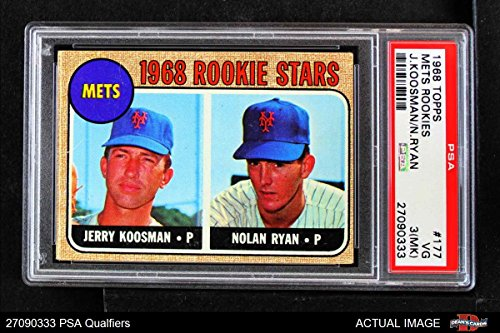 - 1968 Topps # 177 A Mets Rookies Nolan Ryan/Jerry Koosman New York Mets (Baseball Card) (Back is Gold in Color) PSA 1.5 - FAIR Mets