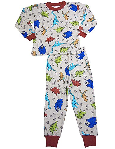 Sara's Prints - Little Boys Long Sleeve Dinosaur Pajamas, Tan 37922-2 (Sleeper Long Print Sleeve)