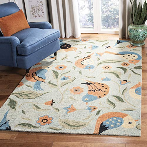 Safavieh Blossom Collection BLM676A Handmade Sage and Multi Premium Wool Area Rug 4 x 6