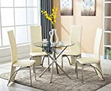 Round Glass Kitchen Table 4 Family 5 PC Round Glass Dining Set Table with 4 Chairs, Kitchen Furniture