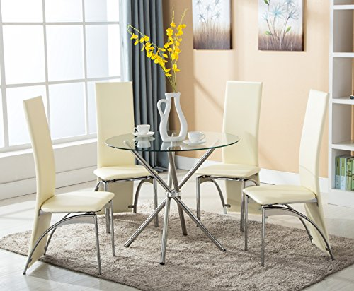 4Family 5 PC Round Glass Dining Set Table with 4 Chairs, Kitchen Room Furniture (Kitchen Round Chair)