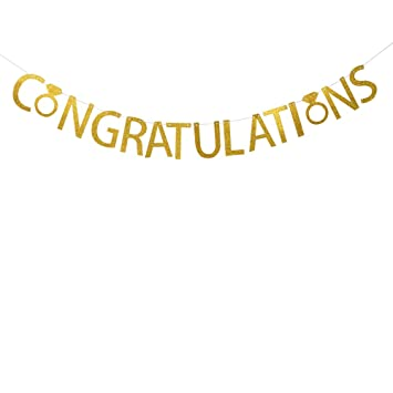 amazon com congratulations banner gold glitter banner graduation