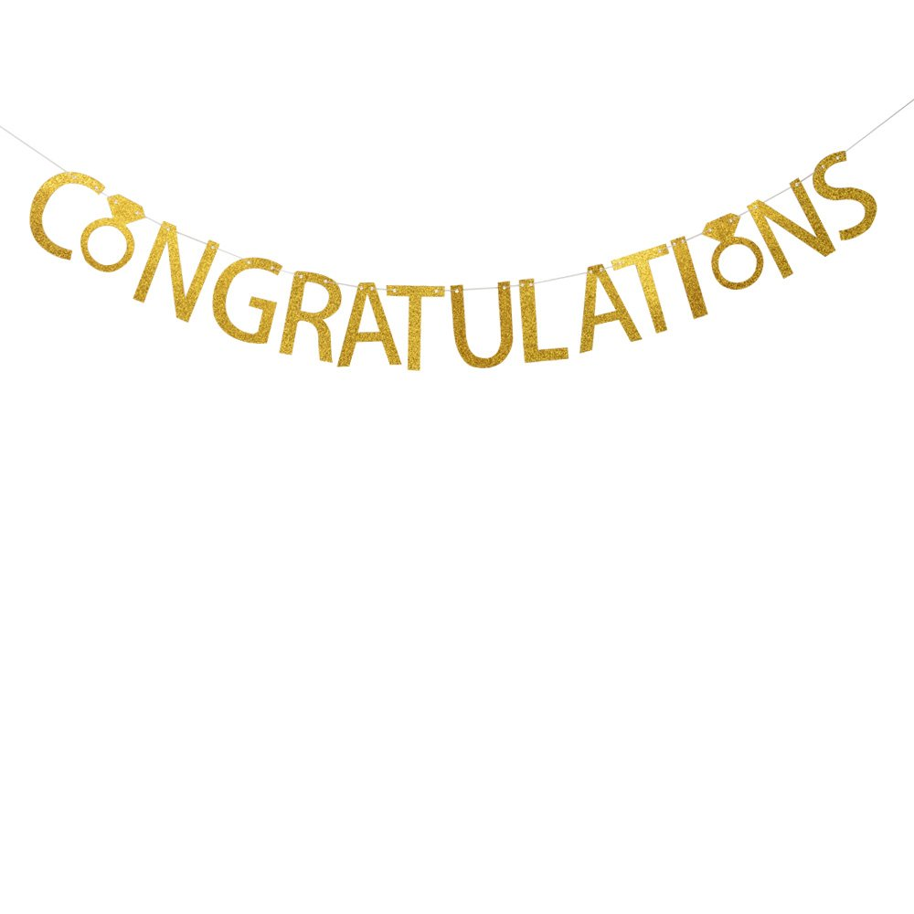 Congratulations Banner Gold Glitter Banner graduation,engagement party,accomplishment,gift,baby shower, party decoration santonila banner