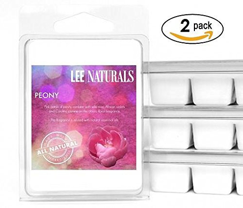 Lee Naturals Classics – (2 Pack) PEONY Premium All Natural 6-Piece Soy Wax Melts. Hand Pou ...