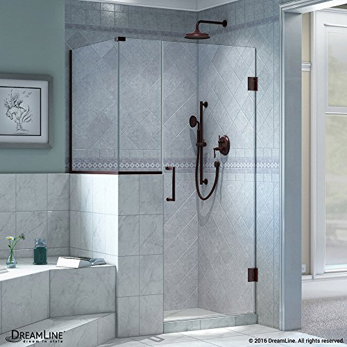 DreamLine Unidoor Plus 35 in. W x 30 3/8 in. D x 72 in. H Frameless Hinged Shower Enclosure, Clear Glass, Oil Rubbed Bronze, SHEN-2423123630-06