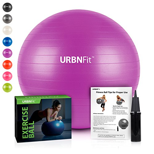 Exercise Ball (Multiple Sizes) for Fitness, Stability, Balance & Yoga - Workout Guide & Quick Pump Included - Anit Burst Professional Quality Design (Purple, 65CM) (Purple Burst Design)